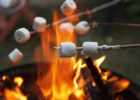Marshmallows boven het vuur